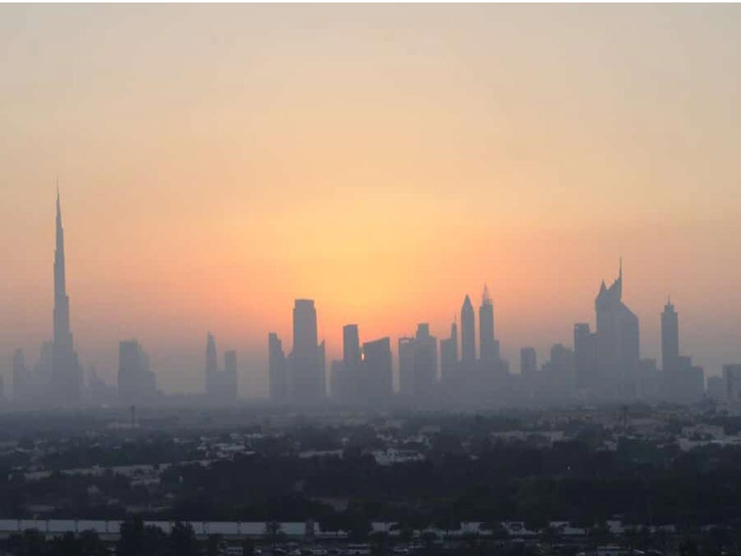 dubai skyline at sunset