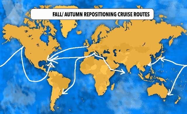 Fall Repositioning Cruise Map